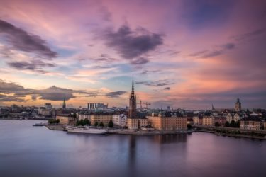 Stockholm against a colourful sky.