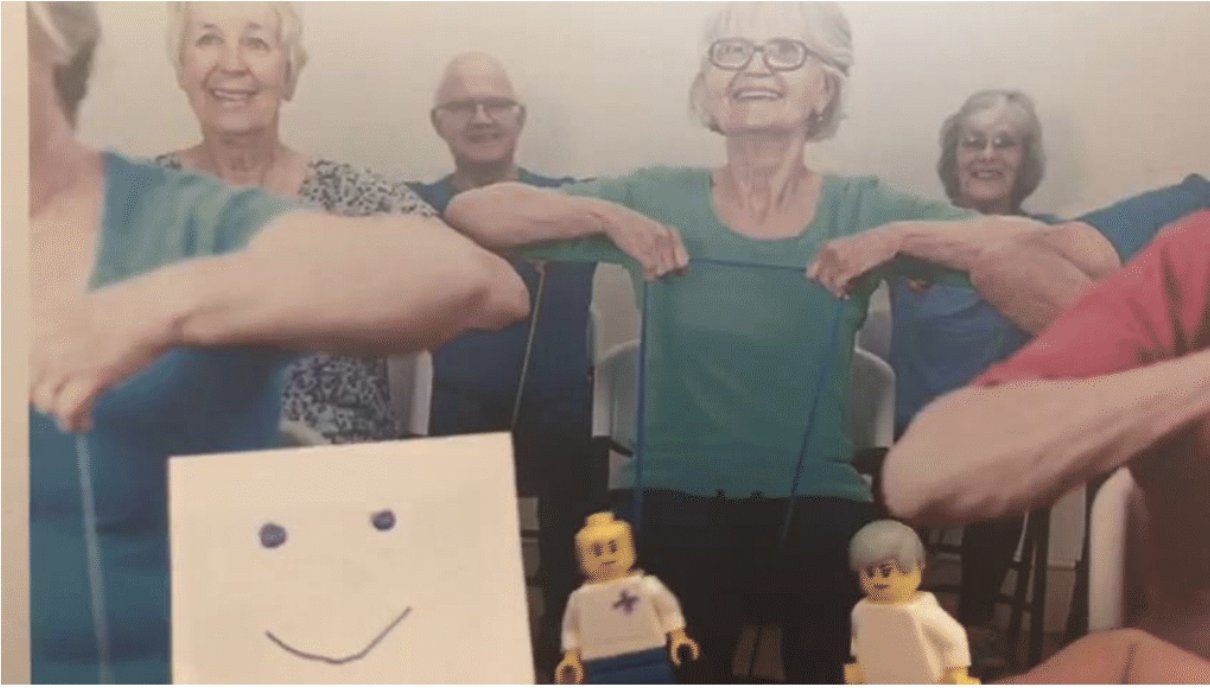Prototype of the concept BUSS. Smiling elderly people at an activity center.