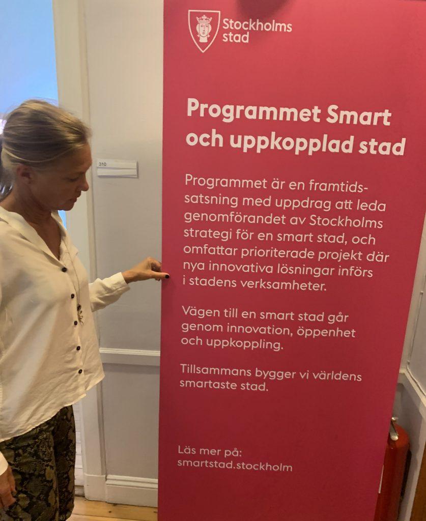 Maria Holm vid rollup om Stockholms stads program Smart och uppkopplad stad