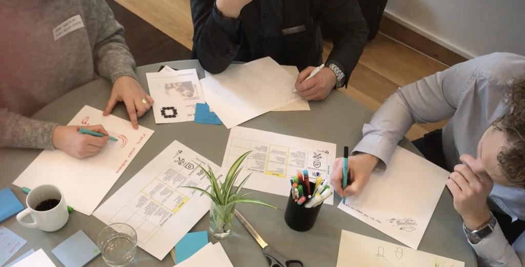 Deltagare  i kreativ marknadsdialog testar design thinking