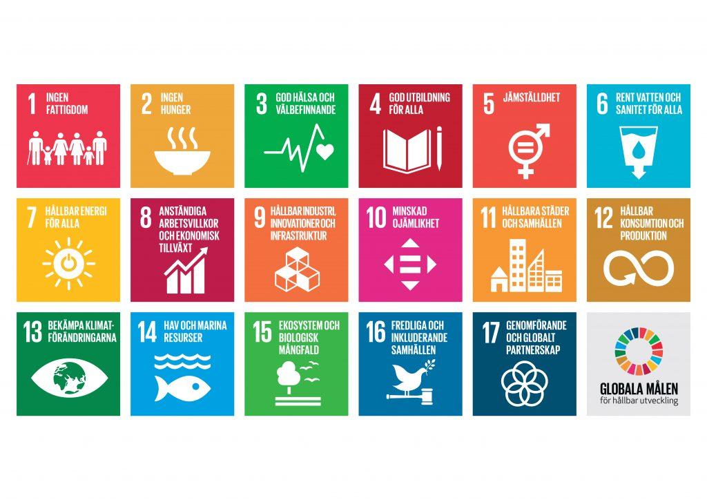 FNs 17 globala mål för hållbar utveckling, hållbarhetsmålen.