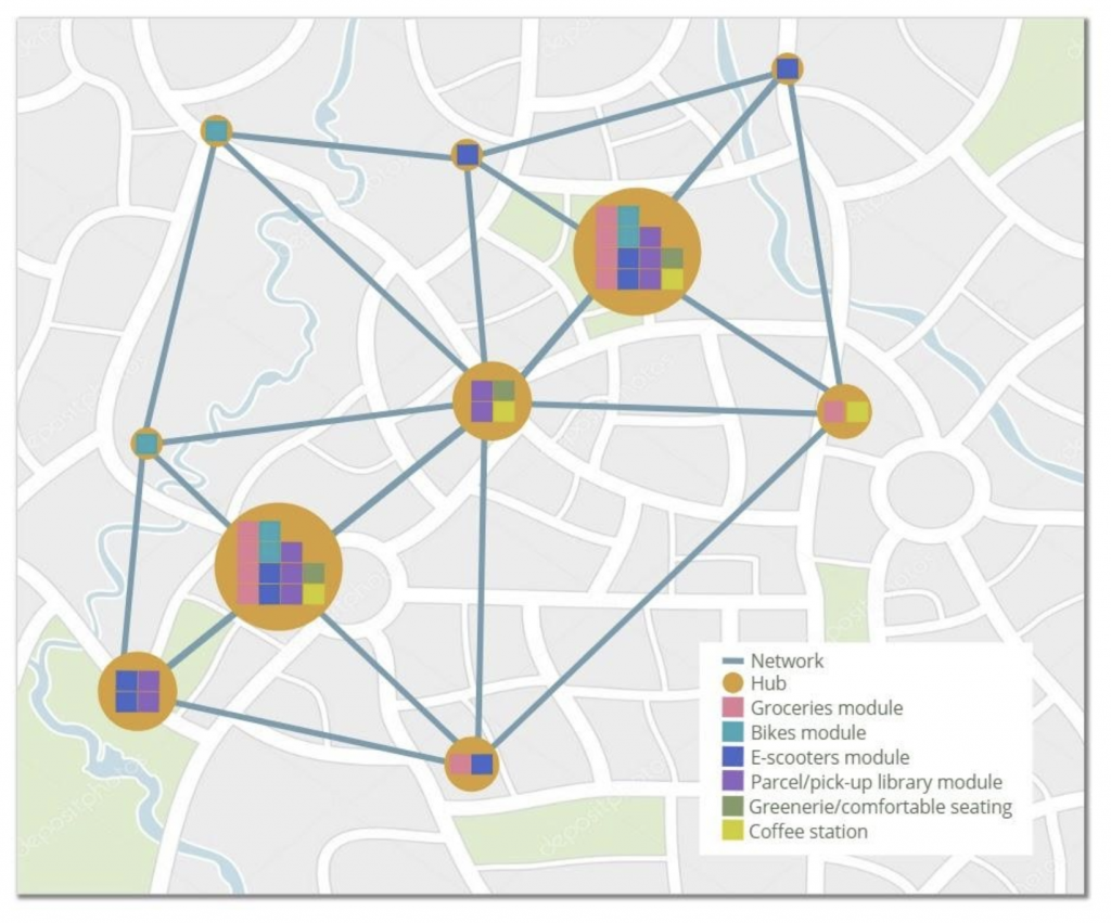 Overview map of the Mobile mobility hub network.