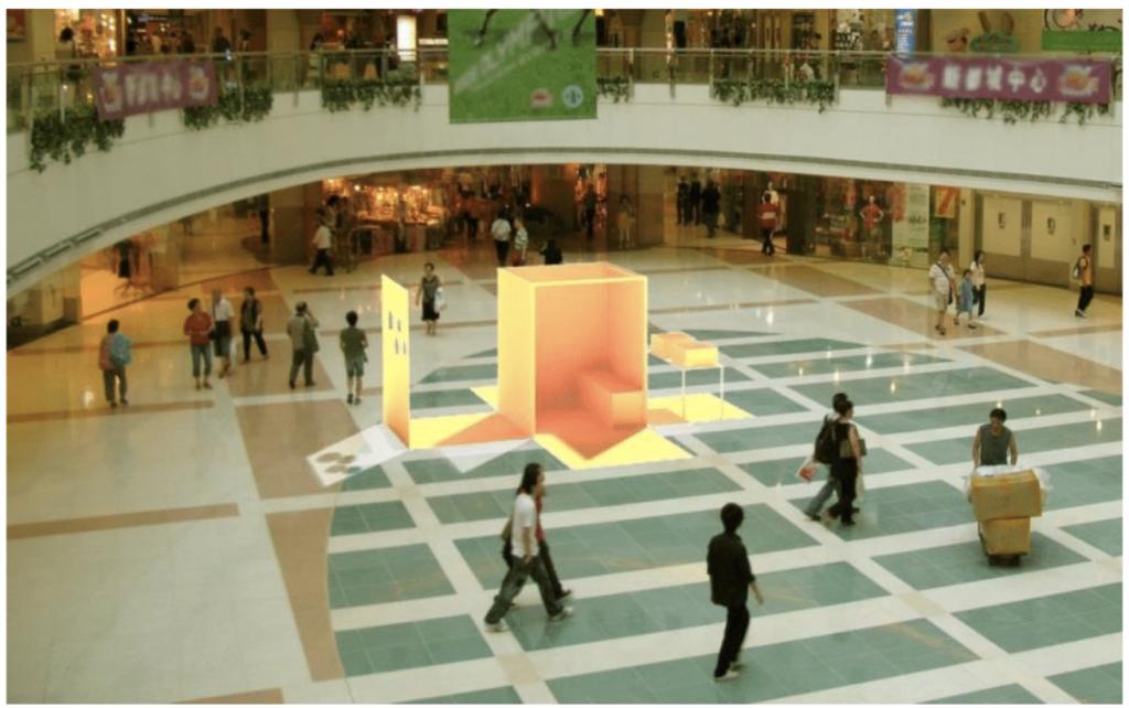 Modell av utställningen 8 m³ FallKunskap – en utställning på väg.