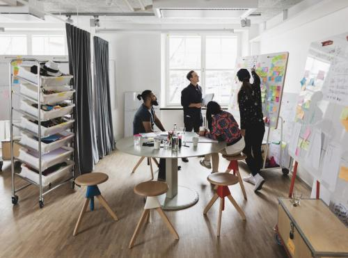 Open space with moveable white boards